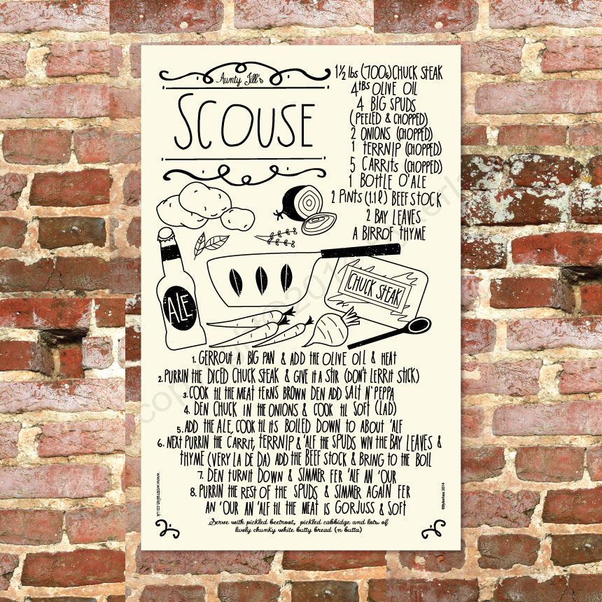 Scouse Recipe Tea Towel