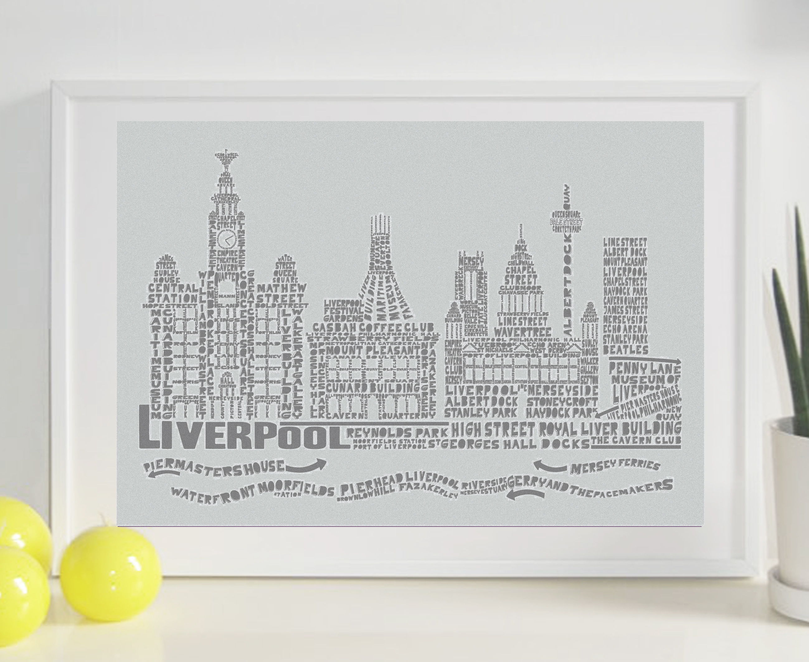 Liverpool Citography Print – Pale grey