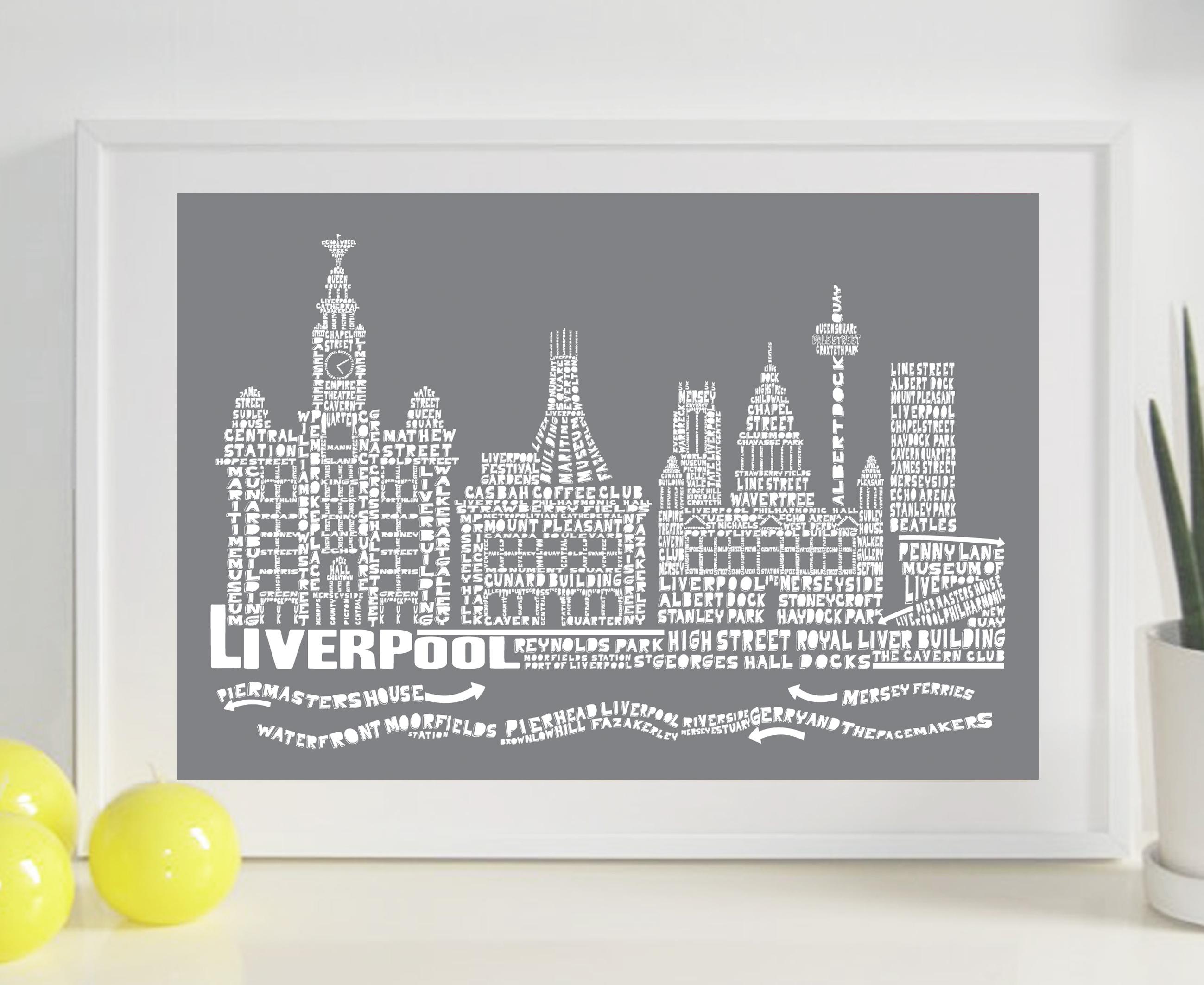Liverpool Citography Print – Slate