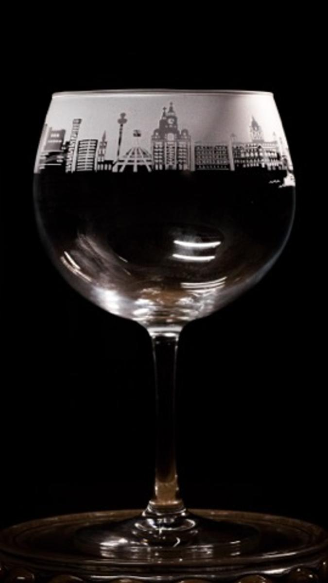 Liverpool Skyline Gin Glass