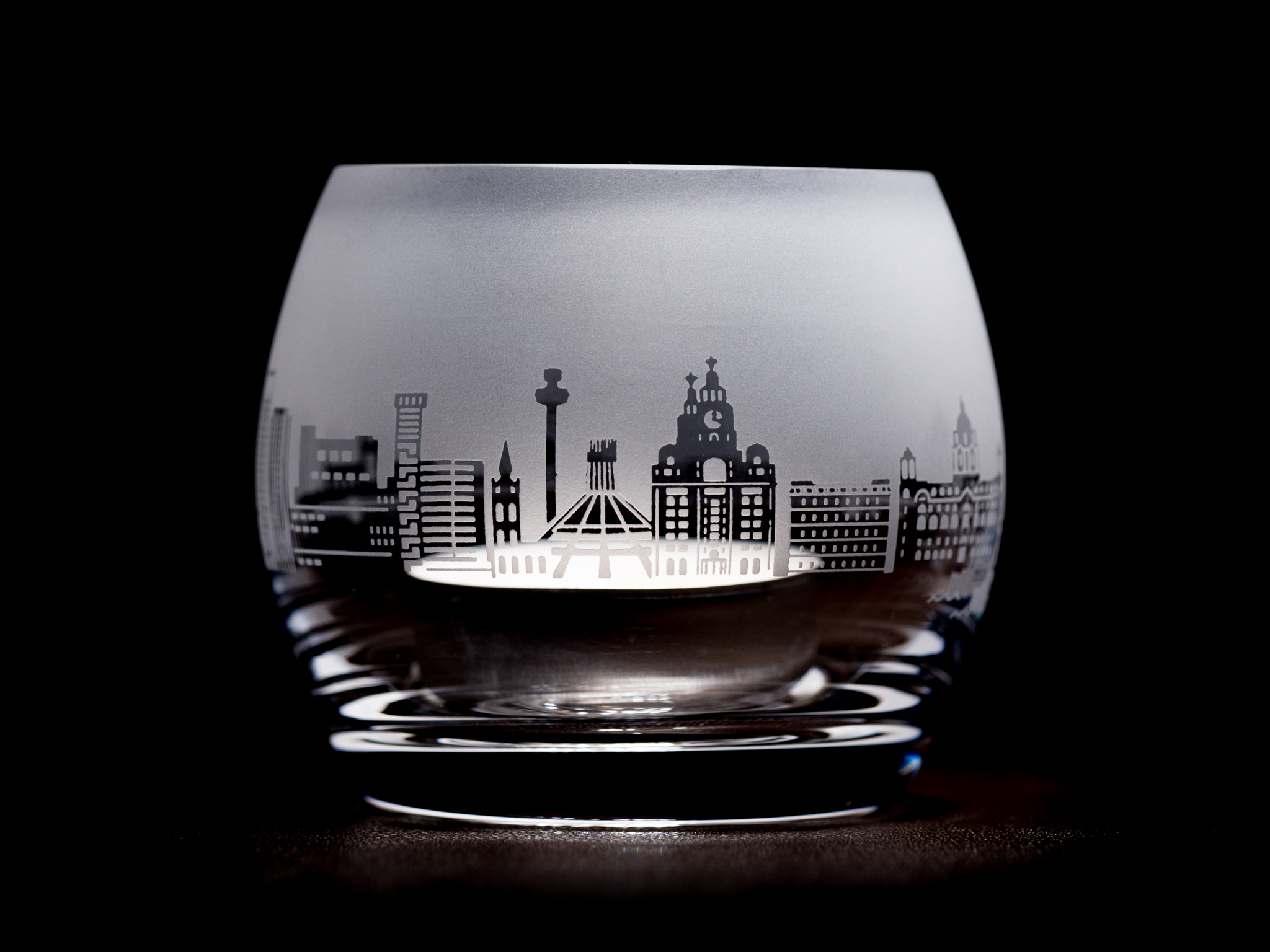Liverpool Skyline Glass Tea Light Holder