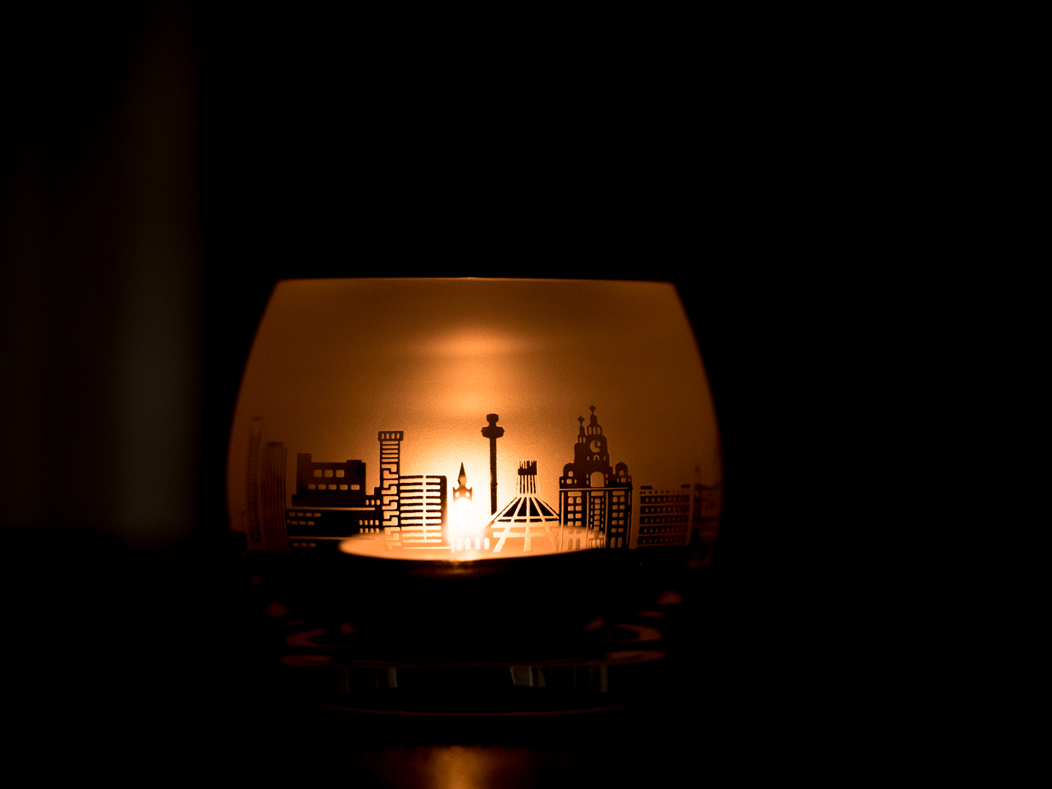 Liverpool Skyline Glass Tea Light Holder Liverpool Gift