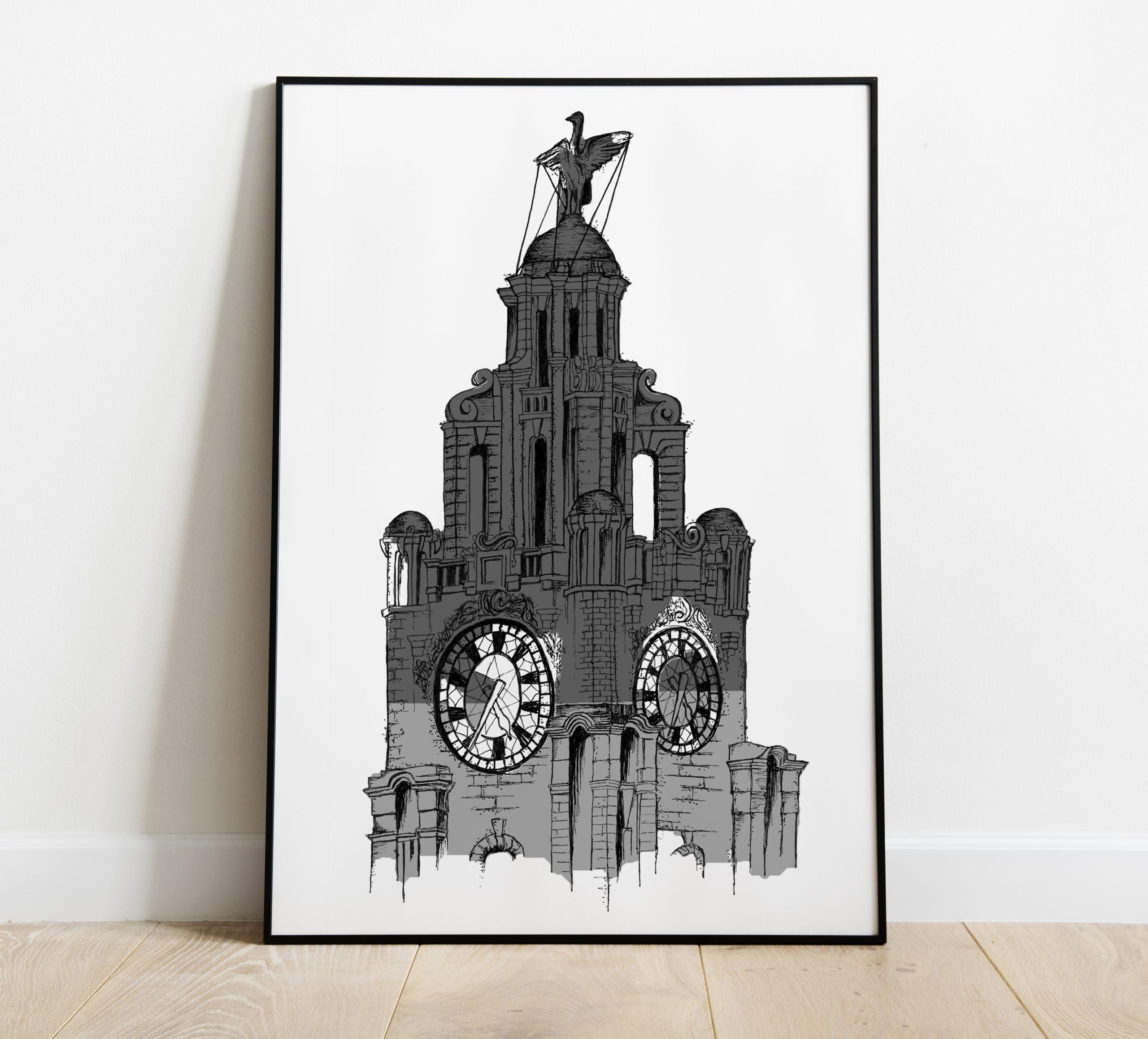 Liver Building Print – Grace Emily – Grey